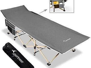 Sportneer Camping Cot  Max load 450 lBS  2 Side large Pockets Portable Folding Camp Cots Sunbathing lounger Bed with Carry Bag