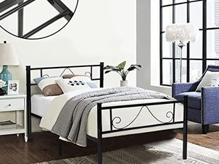 GreenForest Twin Bed Frame Metal Platform with Stable Metal Slats Stable Headboard and Footboard