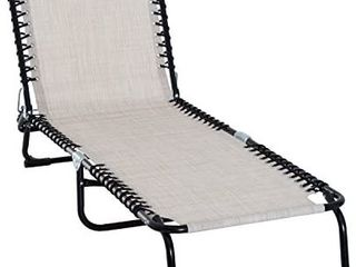 Outsunny 3 Position Reclining Beach Chair Chaise lounge Folding Chair with Comfort Ergonomic Design  Grey