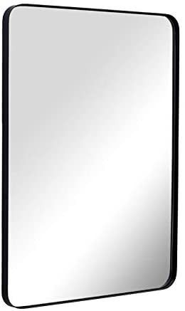 Wall Mirror for Bathroom  Mirror for Wall with Black Metal Frame 22  X 30  Decorative Wall Mirrors for living Room Bedroom  Glass Panel Rounded Corner Hangs Horizontal Or Vertical    gold tone