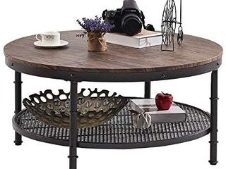 GreenForest Coffee Table Round 35 8  Industrial 2 Tier Sofa Table with Storage Open Shelf and Metal legs for living Room  Rustic Walnut
