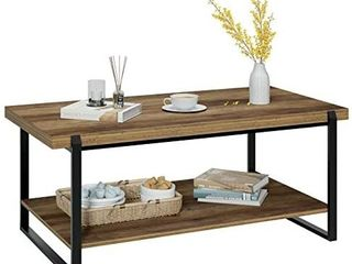 Homfa living Room Coffee Table with Storage Shelf 47 inch  Industrial 2 Tier Tea Table TV Stand Side End Cocktail Table  Wood look Metal Frame Accent Furniture for Home Office  Oak
