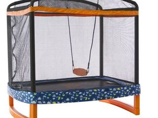 JUMP POWER 72  x 50  Rectangle Indoor Outdoor Trampoline   Safety Net Enclosure with Swing Combo for Children   Toddlers