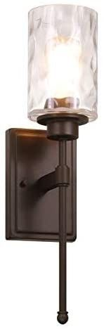 XiNBEi lighting Wall light 1 light Wall Sconce with Glass  Classic Bathroom Vanity light Dark Bronze Finish for Bedroom   living Room XB W1227 DB   one each