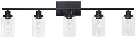 MElUCEE 40 Inches length 5 light Bathroom Vanity light Fixtures Black Industrial Wall Sconce lighting with Clear Glass Shade for living Room Bedroom Hallway Kitchen