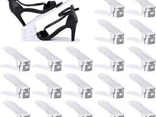 Shoe Slots Organizer  Adjustable Shoe Stacker Space Saver  Double Deck Shoe Rack Holder for Closet Organization  20 Pack White