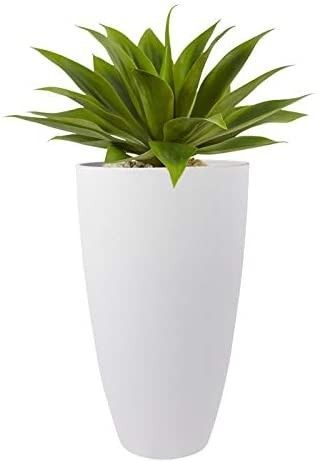 Tall Planters Outdoor Indoor   20 inch Modern White Flower Pots with Drainage Holes for Balcony Garden Patio Deck Pack 1  crack at top