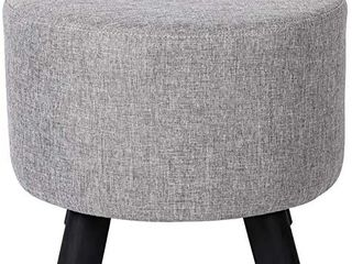 Grey linen Foot Stool Ottoman a Soft Compact Round Padded Seat   living Room  Bedroom and Kids Room Chair a Natural Wood legs Upholstered Decorative Furniture Rest a Vanity Seat