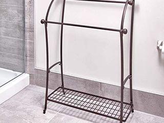 iDesign York lyra Free Standing Towel Rack for Bathroom   Bronze