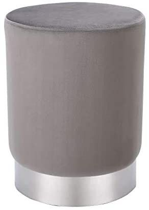 Round Grey cloth Ottoman Foot Stool a Soft Compact Padded Vanity Stool   Great for The living Room  Bedroom and Kids Room   Small Furniture  3 Shades of Grey