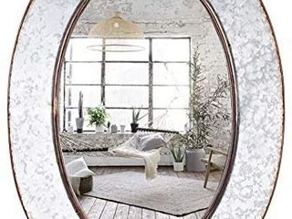 Bathroom Mirrors Industrial Galvanized 28 Inch Oval Wall Mirror Gray Farmhouse Decor Mirrors Wall Mounted Vanity Mirror for Wall Bedroom Street Antique Entryway