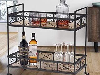 O K FURNITURE Industrial Bar Serving Cart  Kitchen Storage Cart  2 Tier Rectangular Rolling Bar Cart for Home Kitchen  Vintage Brown  31 5aW x 16aD x 32aH   1 PC