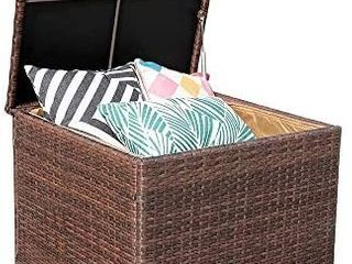 Patiorama Wicker Deck Box  Indoor Outdoor Storage Box for Patio Cushions  Gardening Tools and Toys   Resin Rattan Patio Cushion Storage Bin  Brown