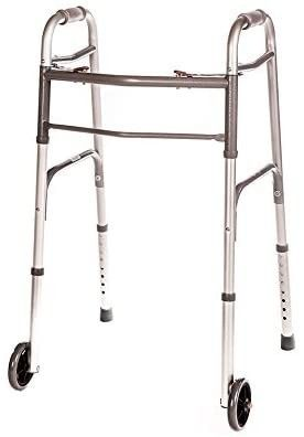 Walker Folding Deluxe 2 Button with Front 5  Wheels  Adjustable Height  Short  Standard  Tall People  by Healthline Trading