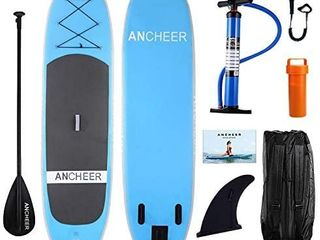 ANCHEER Inflatable Stand Up Paddle Board  Inflatable SUP Board  iSUP Package W All Free Premium Accessories   Backpack Super Wide Non Slip Deck  Bottom Fin  Paddle  leash  Pump  Youth   Adult