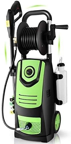 Suyncll 3800 PSI 2 8GPM Electric Pressure Washer Electric Power Washer with Soap Bottle and Hose Reel  Green