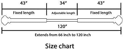 Window Curtain Rod and Finial Bracket Set  66 Inch Extends to 120 Inch 3 4   Inch Diamter Nickel