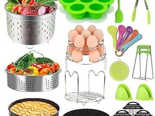 Pressure Cooker Accessories Set Fit Instant Pot 6 qt 8 Quart  Include Steamer Baskets  Stackable Egg Steamer Rack  Springform Pan  Egg Bites Mold  Oven Mitts and More Instapot Accessory