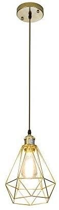 POPIlION Vintage Simple Style Polygon Adjustable Cord Hanging Ceiling Gold Pendant light  1 light Pendant lighting Fixtures