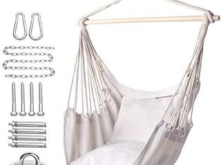 Y  STOP Hammock Chair Hanging Rope Swing  Max 320 lbs  2 Seat Cushions Included  Hanging Chair with Pocket  Quality Cotton Weave  for Indoor and Outdoor  Beige