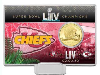 Kansas City Chiefs Highland Mint Super Bowl lIV Champions 4  x 6  Bronze Coin Card