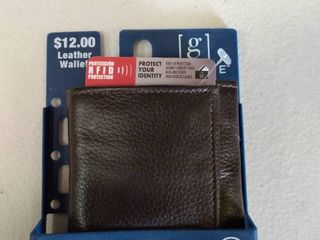 George Top Quality Brown leather Tri fold Wallet Flip Id   Rfid Protection