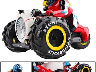 deAO RC Motorcycles Amphibious Stunt Car High Speed Racing Vehicle with lED light