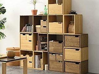 Kirigen Decorative Cubical Organizer 1 Cube Fully Assembled   Wood Stackable Open Cube Closet   Natural Square Cube Storage Cabinet  Book Shelvesi1 4Bookcase  XG NA
