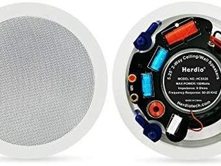 Herdio 5 25 Inches in Ceiling Wall Flush Mount Speakers 8Ohm 300Watts Peak with Spring loaded Speakers