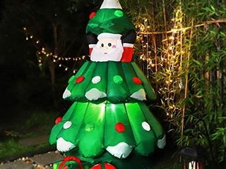 VIVOHOME 6 Feet Height Inflatable lED lighted Christmas Tree with Pop up Santa and 2 Gift Boxes