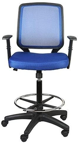 lUCKWIND Office Drafting Chair Mesh   Adjustable Arm Task Ergonomic lumbar Support Mid Mesh Back Computer Desk Chair Swivel Chair with Adjustable Chrome Foot Rest Big and Tall Tilt  SGS BIFMA Blue
