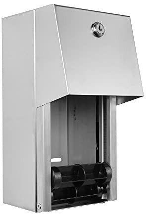3 Roll Toilet Paper Dispenser   lockable Design   Heavy Duty Commercial Grade