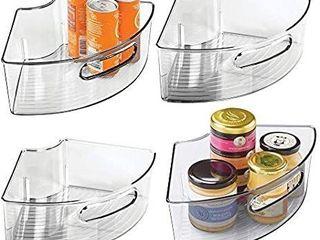 Mdesign Deep Plastic Kitchen Cabinet lazy Susan Storage Organizer With