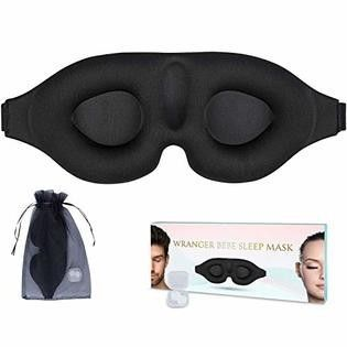 Wrangerbebe Eye mask for restful Sleep   3D Contoured Sleeping Mask and Blindfold with Ear Plug Travel Pouch