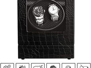 Automatic Watch Winder Double Watch Box Collector With Quiet Mabuchi Motor For Men And Women Crocodile PU leather Design luxury Black