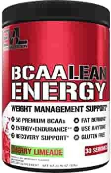 Evlution Nutrition BCAA lean Energy   Essential BCAA Amino Acids   Vitamin C  Fat Burning   Natural Energy  Performance  Immune Support  lean Muscle  Recovery  Pre Workout  30 Serve  Cherry limeade