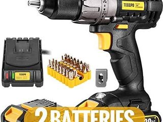 Cordless Drill  20V Drill Driver 2x2000mAh Batteries  530 In lbs Torque  24 1 Torque Setting  Fast Charger 2 0A  0 1700RPM Variable Speed  33pcs Accessories  1 2  Metal Keyless Chuck  TECCPO