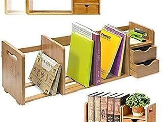 IDK luxury   Bamboo Wood Desk Organizer Bookshelf Rack with Two Shelves  Three Wooden Expandable Book or File Compartments  Home  Office  Dorm  Desk Hutch