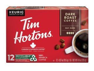 Tim Hortons Ground Coffee Single Serve Cups Dark Roast 12 Ct