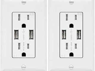 3 1A USB Outlet  USB Wall Outlet  15A TR Receptacle  for iPhone XS MAX XR X 8 7 6s Plus  iPad  lG  HTC and more  Compatible Samsung Galaxy S9 S8 S7 S6  Note9 8 7 and more  2 Pack  White