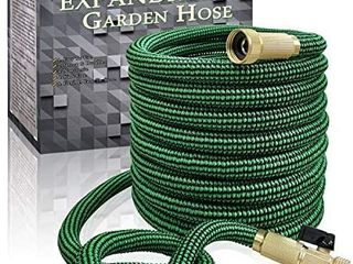 Flexible and Expandable Garden Hose   13 layer latex Water Hose with Retractable Fabric  Solid Brass Fittings and Nozzle  Kink Free  lightweight  Collapsible Expending Hose