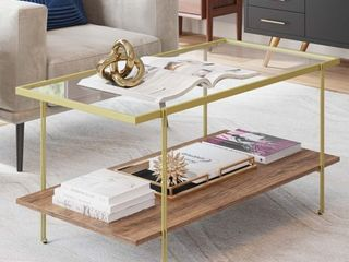 Nathan James Asher Mid Century Rectangle Gold Coffee Table with Glass Top Oak Floating Shelf  Retail 179 99