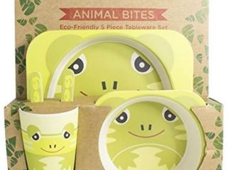 5 Piece Kids Meal Set   Eco Friendly   Made Out Of Organic Bamboo Elephant
