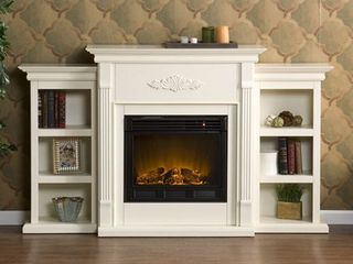 Griffin Fireplace with Bookcases  Ivory  Box 3 of 3