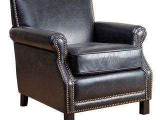 Abbyson Chloe Antique Black leather Club Chair  Retail 471 49