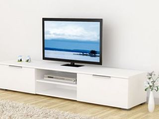 Match 2 Drawer and 2 Shelf TV Stand White