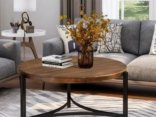 Brown Industrial Round Coffee Table Brown