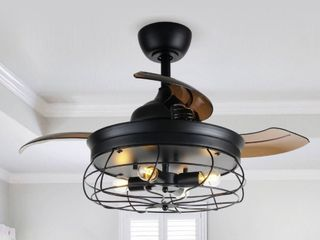 Industrial 34 inch Retractable 3 Blade Ceiling Fan with Remote  Retail 182 99
