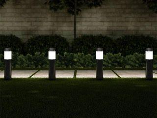 Pure Garden Solar Path Bollard 15 in  Stainless Steel Outdoor Stake lighting for Garden   Black   Set of 6
