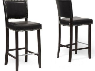 Wholesale Interiors Aries 19 inch Modern Bar Height Stool with Nail Head Trim  Set of 2  Black